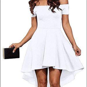 Dresses & Skirts - Off the shoulder short sleeve high low dress